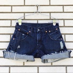 Levi's Rolled Distressed Jean Shorts